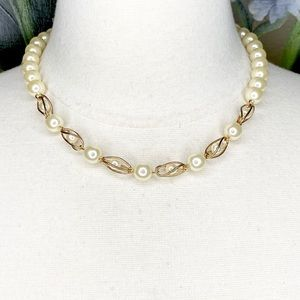 Apostrophe Faux Pearl Gold Tone 1 Strand Necklace